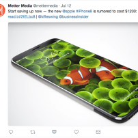Twitter post for iPhone news